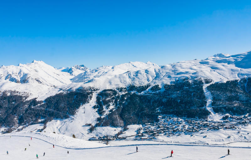 Ski resort Livigno. Italy. View of Ski resort Livigno. Italy stock photos