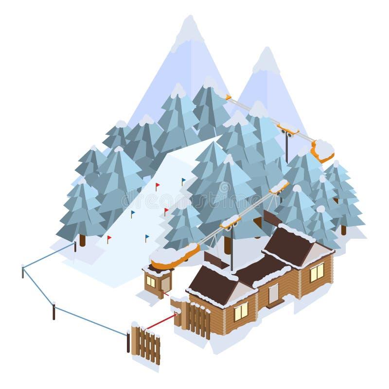 Ski Resort. Mountain landscapes. Vector isometric illustrations. stock images