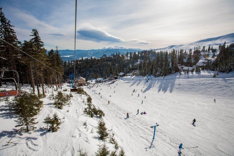 Ski resort in the mountains royalty free stock photos