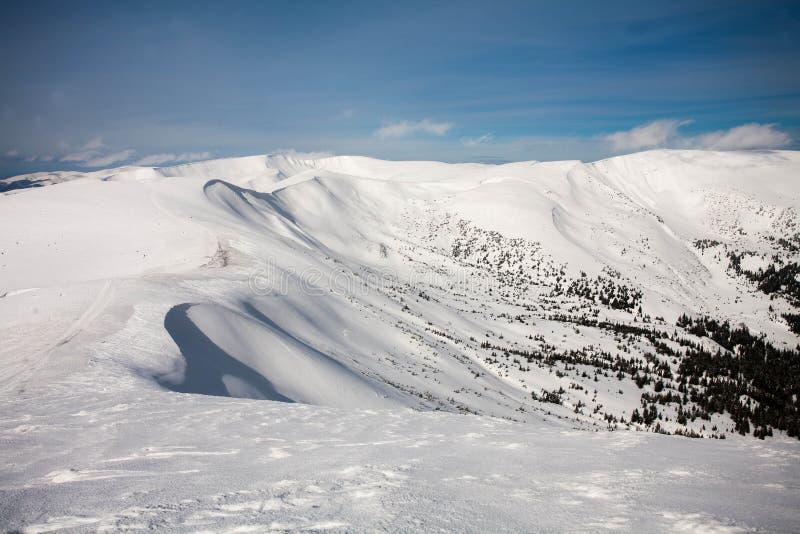 Ski resort in the mountains stock photo