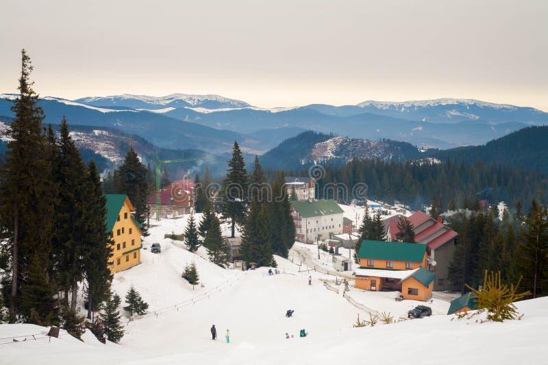 Ski resort in the mountains royalty free stock image