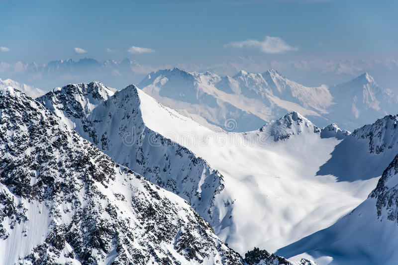 Ski resort of Neustift Stubai glacier stock images