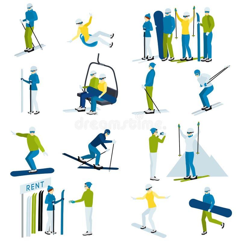 Ski Resort People Icons Set illustration stock