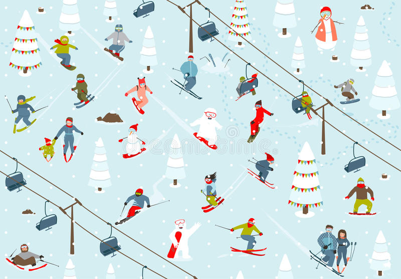 Ski Resort Seamless Pattern con gli Snowboarders e