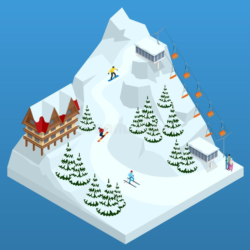 Ski resort, slope, people on the ski lift, skiers on the piste among white snow pine trees and hotel. Winter holiday web stock illustration