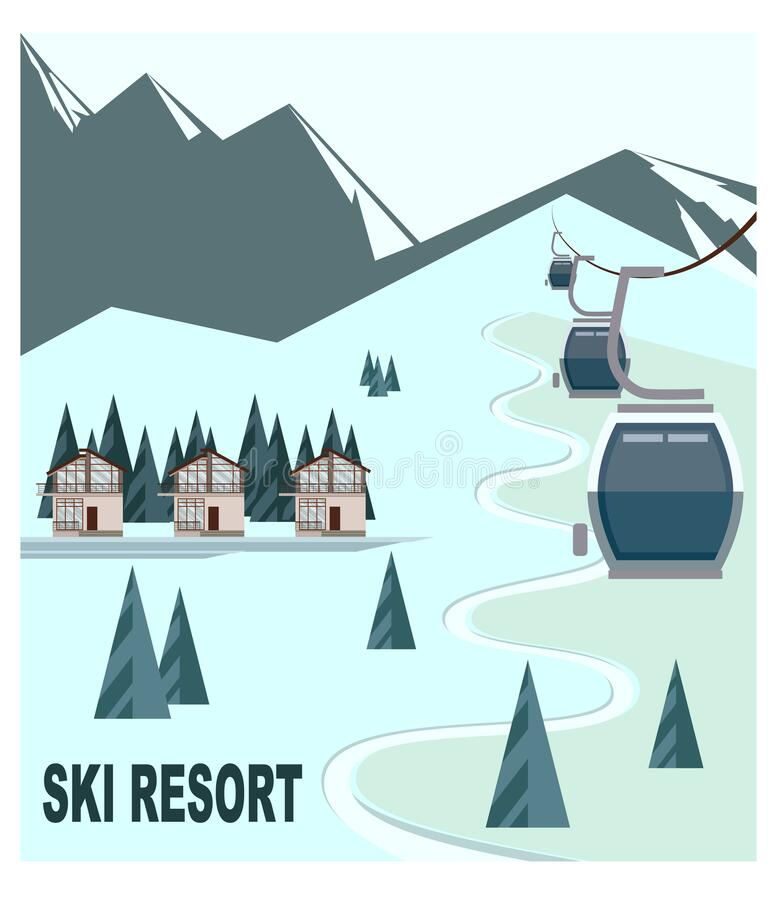 Ski resort with snow-capped mountain peaks and chalet royalty free illustration