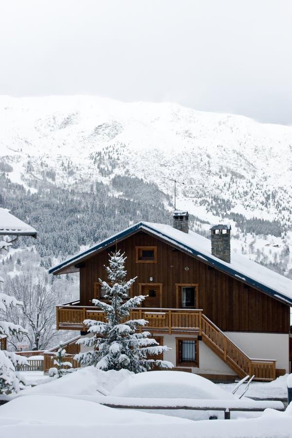 Ski resort after snow storm stock image