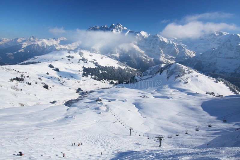 Ski resort in the Swiss Alps royalty free stock photo