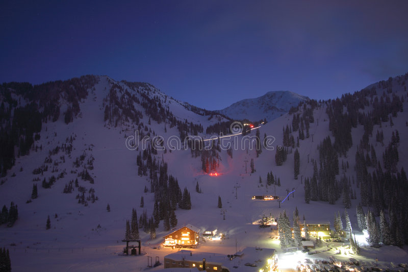 Ski resort town skyline night royalty free stock image