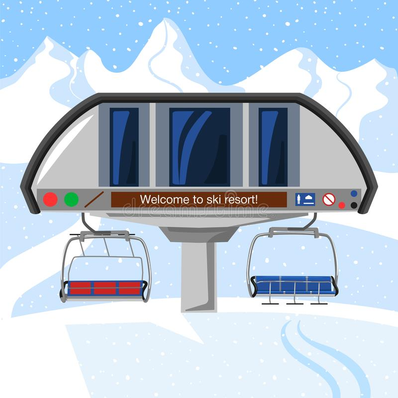 Free Ski Resort Vacation, Ski Lift Station. Winter Outdoor Holiday Activity Sport In Alps, Landscape With Winter Mountain Royalty Free Stock Images - 129852749