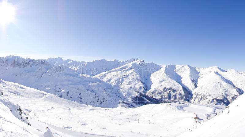 Ski resort in Valloire, France stock photo