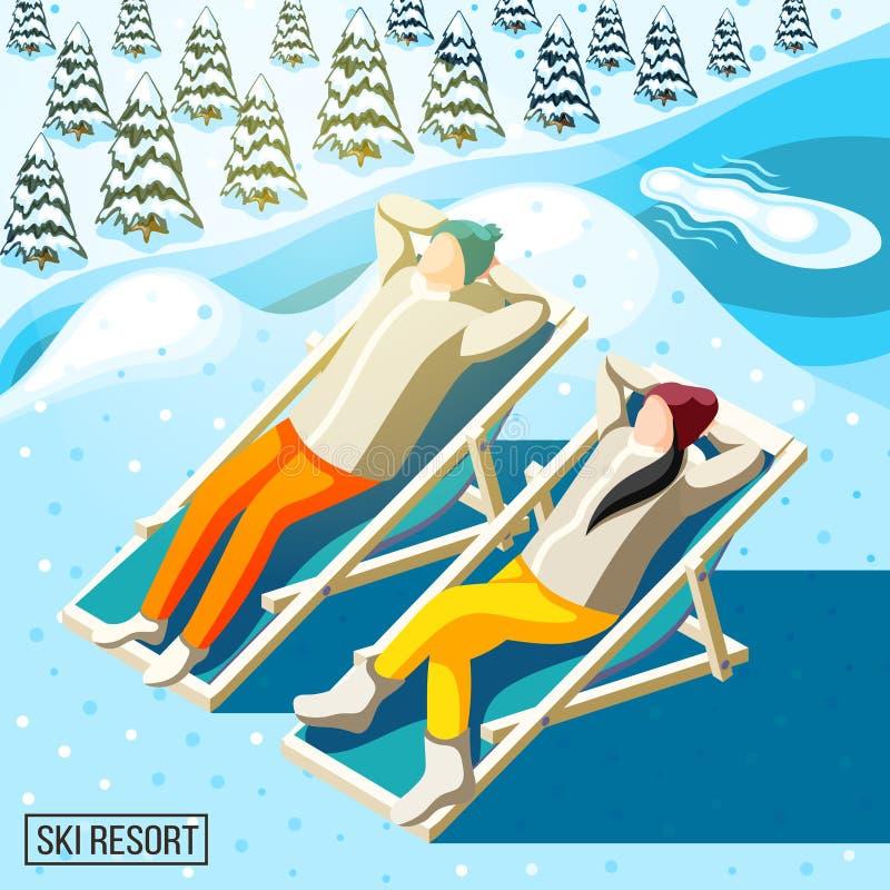 Ski Resort Visitors Isometric Background royalty illustrazione gratis