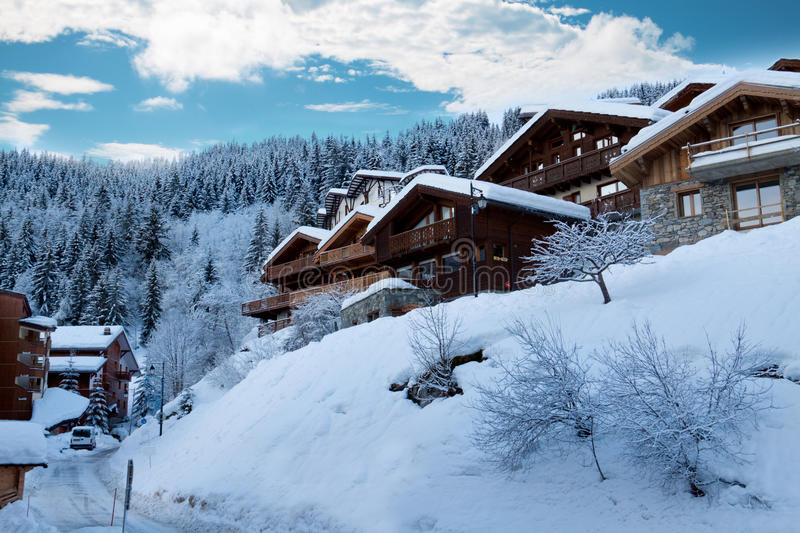 Ski resort. With winter chalets - France royalty free stock images