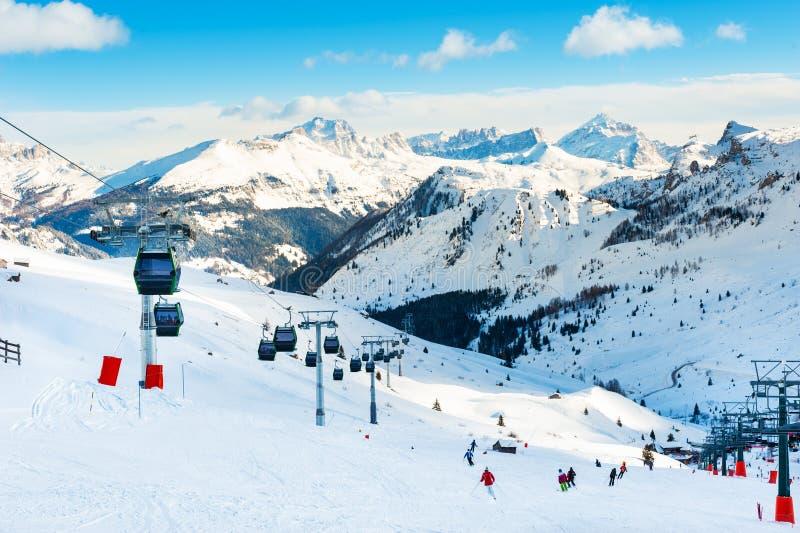 Ski resort in winter Dolomite Alps. Val Di Fassa, Italy. Ski slopes on ski resort in winter Dolomite Alps. Val Di Fassa, Italy. Winter holidays, travel royalty free stock photos
