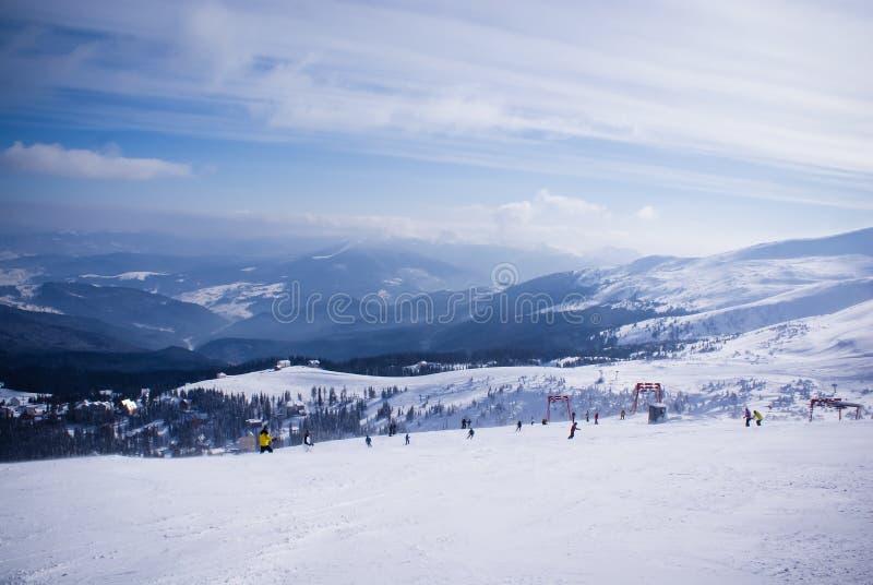 Ski resort. Winter landscape on the ski resort royalty free stock photo