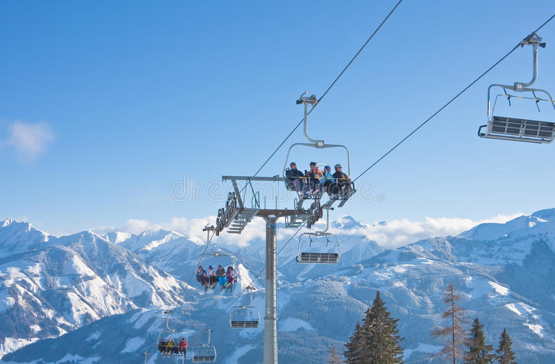 Download Ski resort Zell am See editorial stock image. Image of rope - 26894719