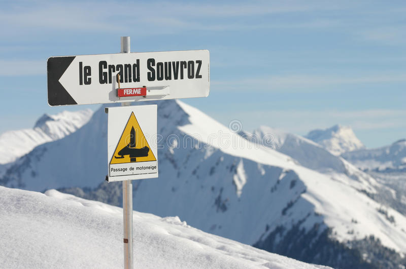 Ski Route sign in Alps. Le Grand Souvros, ferme, snow, mountains winter royalty free stock images