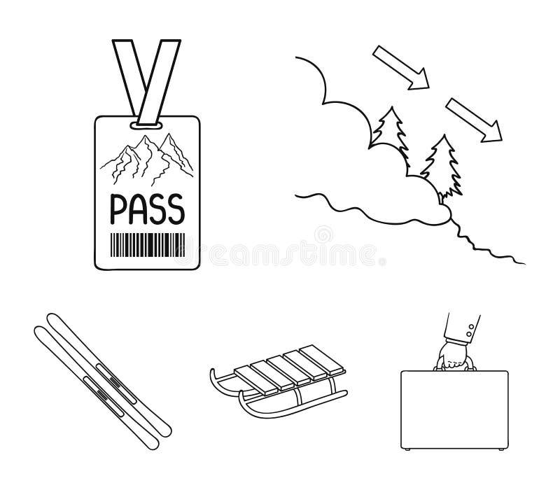 Ski, Schlitten, Leibwächterausweis, Ausweislawine Vector gesetzte Sammlungsikonen des Skiorts in der Entwurfsart Symbolvorrat vektor abbildung
