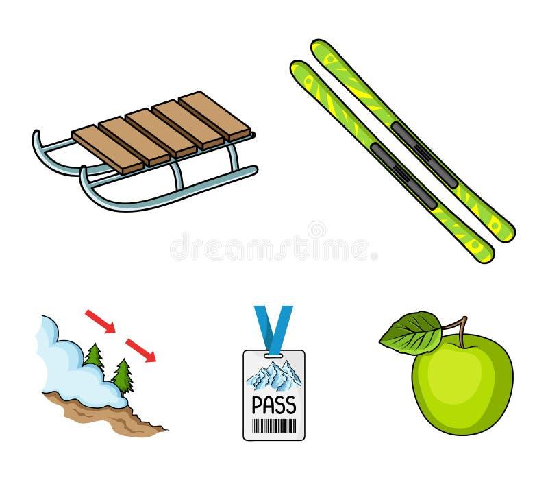Ski, Schlitten, Leibwächterausweis, Ausweislawine Vector gesetzte Sammlungsikonen des Skiorts in der Karikaturart Symbolvorrat lizenzfreie abbildung