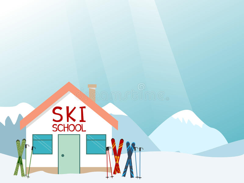 Ski school advertisement layout. Vector illustration stock illustration