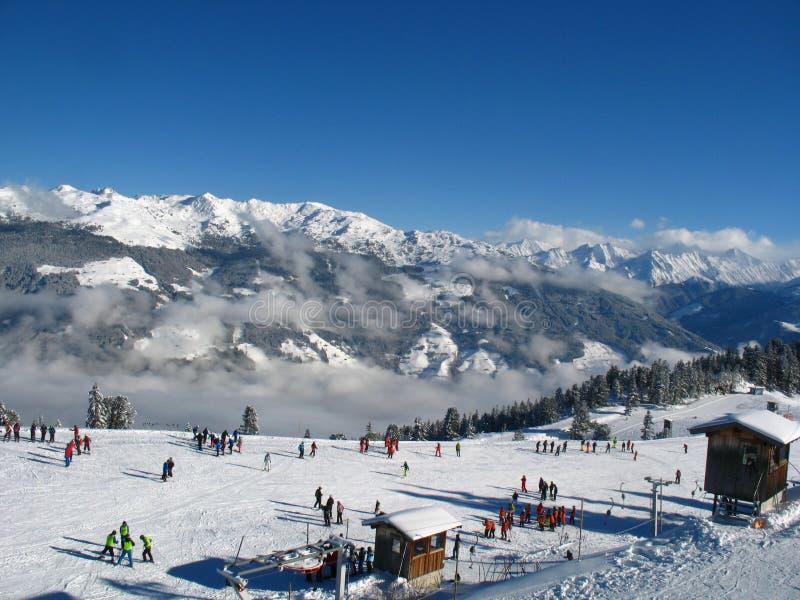 Ski school on the slope royalty free stock photos