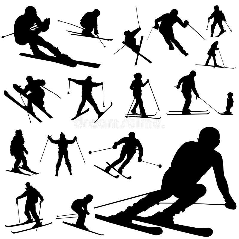 Ski set. Set of ski silhouette vector