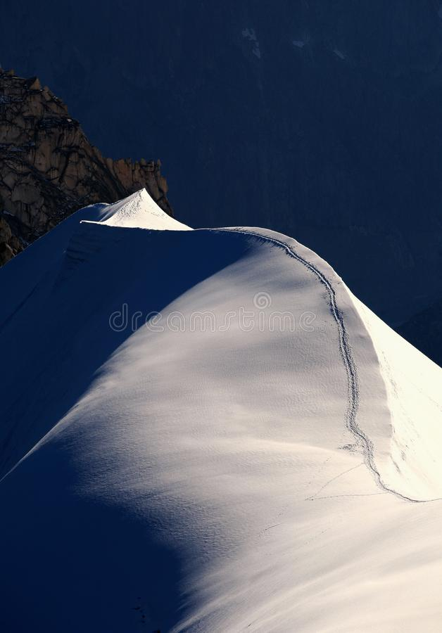 Free Ski Slope In The Famous Montblanc Royalty Free Stock Photo - 141540275