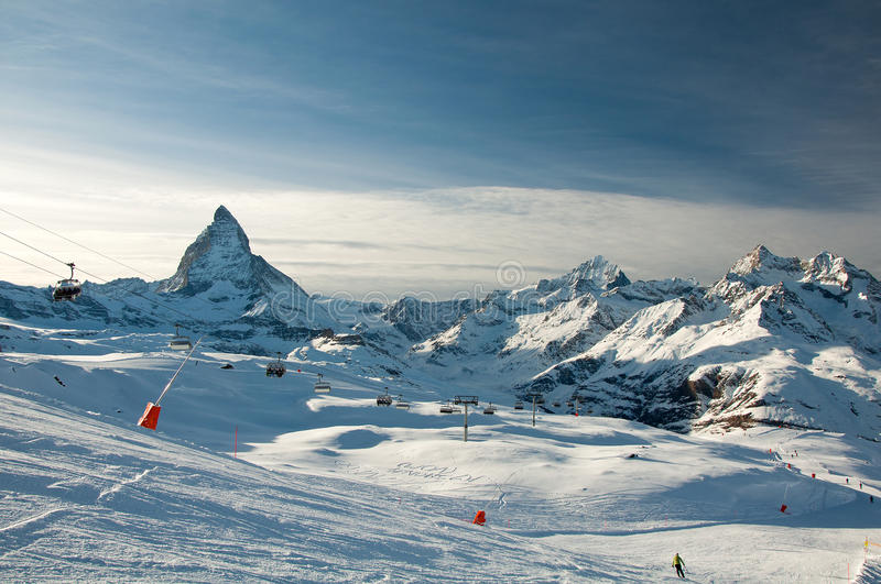 Download Ski Slope With Matterhorn As Background Stock Photo - Image: 29187758