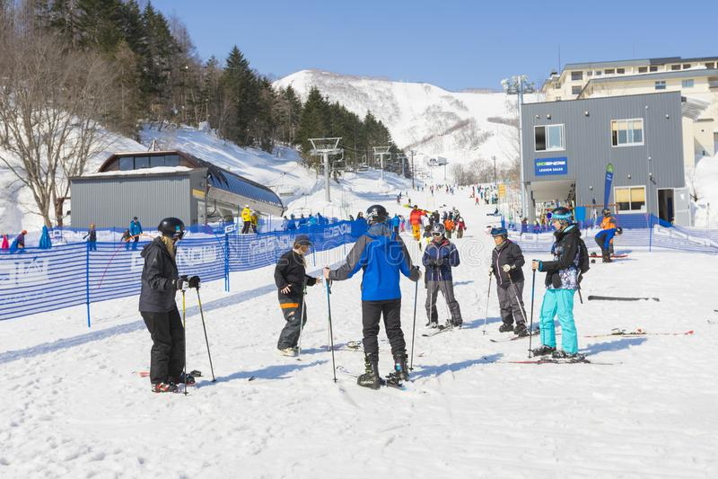 The ski slope of Niseko Mt. Resort Grand Hirafu at Niseko, Hokkaido,Japan royalty free stock photo