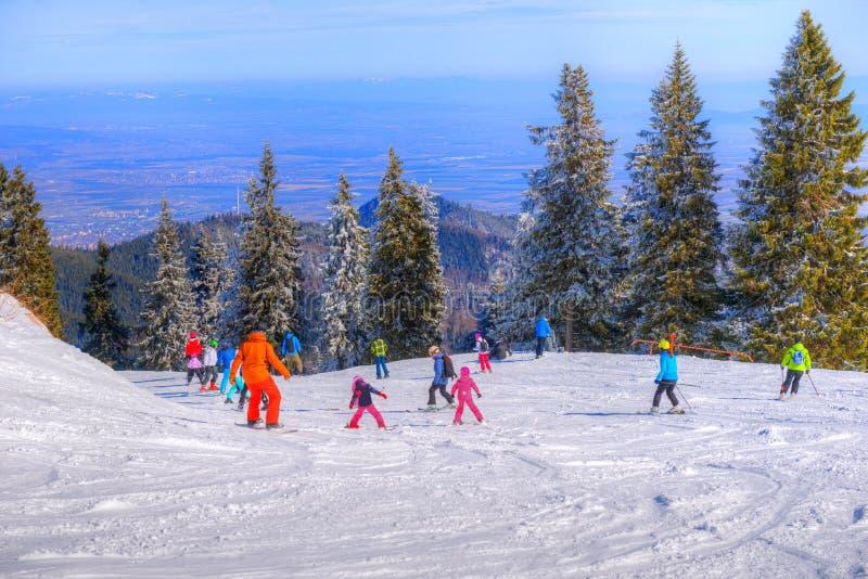 Ski slope in Poiana Brasov, Romania stock photo