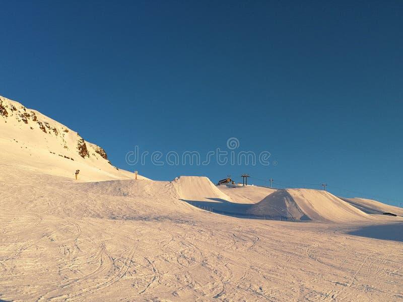 Ski slope and ski ramps in Davos, Switzerland. Ski slope and ski ramps in Davos, Suisse royalty free stock photo
