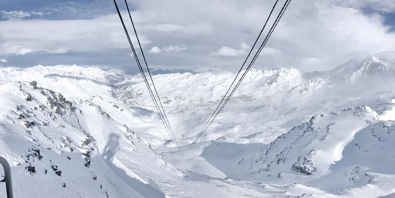 Ski Slope Val Thorens Tres valles francia fotos de archivo