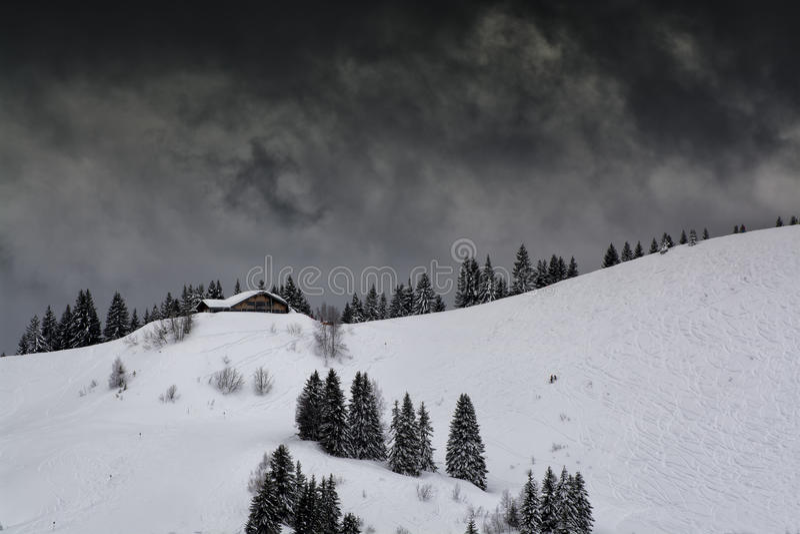 Ski slopein the mountains stock photography