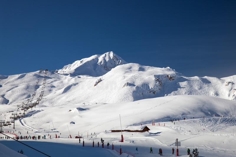 Ski slopes in Les Arcs, France. Ski slopes and chair lift in Les Arcs, France stock photography