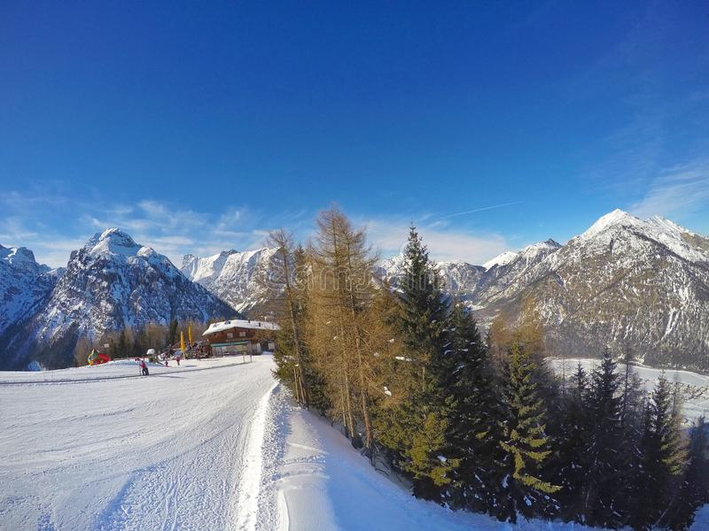 Ski slopes at Pertisau above at the Alps in Tyrol, Austria stock images