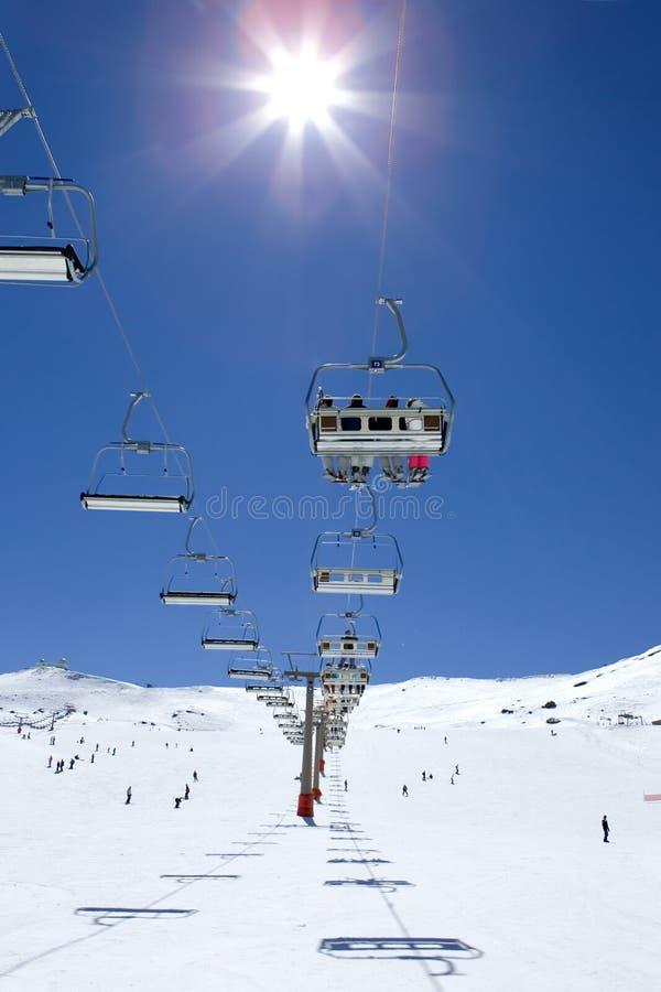 Ski slopes of Pradollano ski resort in Spain royalty free stock photography