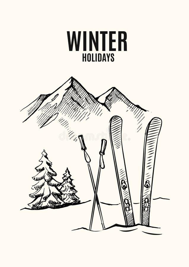 Ski in snow stock illustration