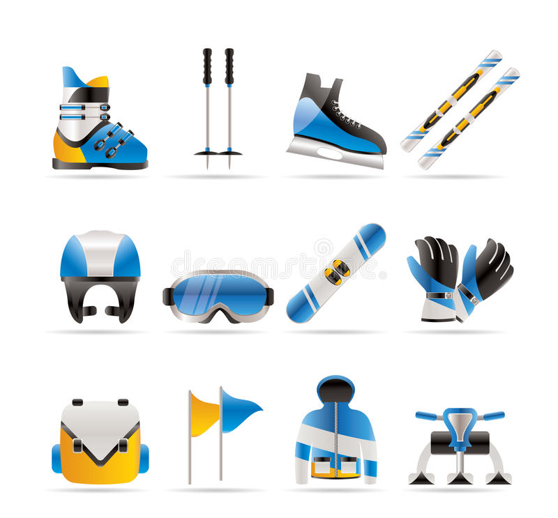 Ski and snowboard equipment icons royalty free illustration