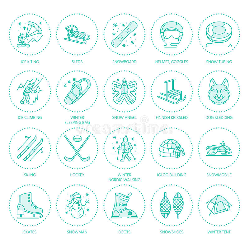 Ski, snowboard, skates, tubing, ice kiting, climbing and other winter sport line icons. Outdoor activity thin linear. Pictogram such as camping, igloo building vector illustration