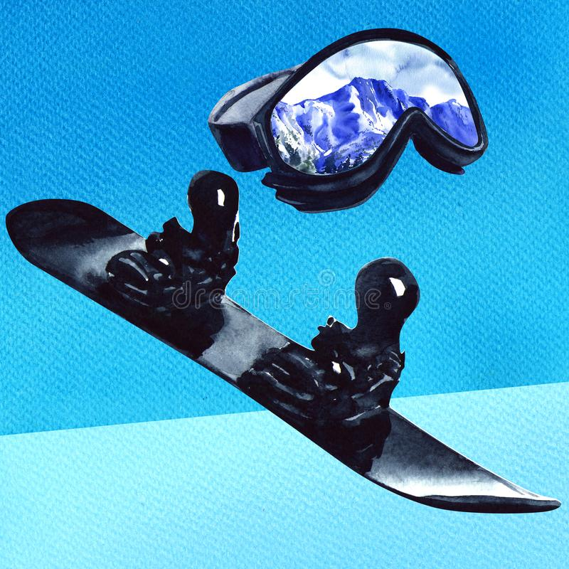 Ski sport glass with reflection of mountains and black snowboard, active equipment, isolated, hand drawn watercolor stock illustration