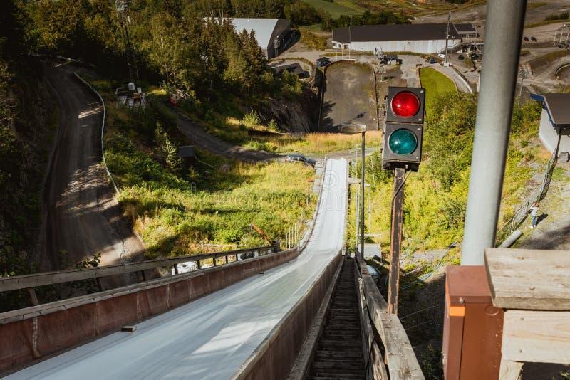 Ski-sprong in Vikersund, Noorwegen, Scandinavië royalty-vrije stock foto's