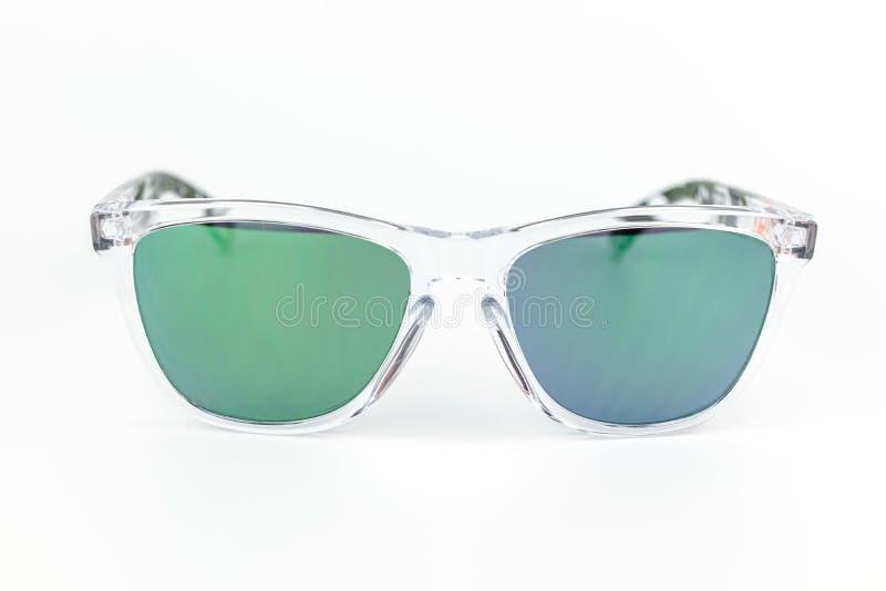 Ski sunglasses, transparent frame mirror lens stock image