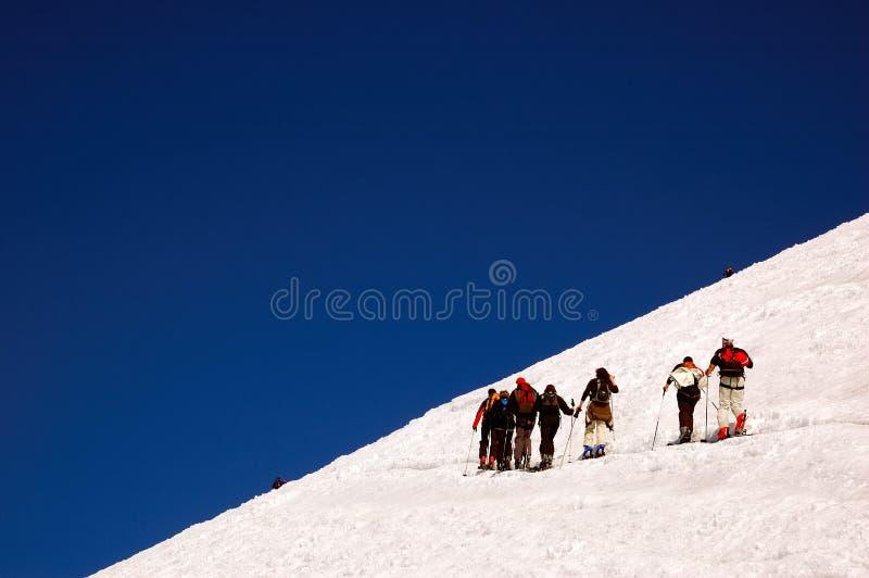Ski touring group royalty free stock photos