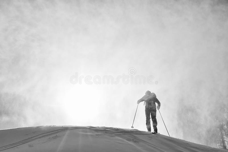 Ski touring in harsh winter. Conditions stock photos
