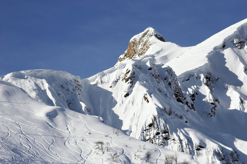 Download Ski tracks on mountainside stock image. Image of frozen - 1436131