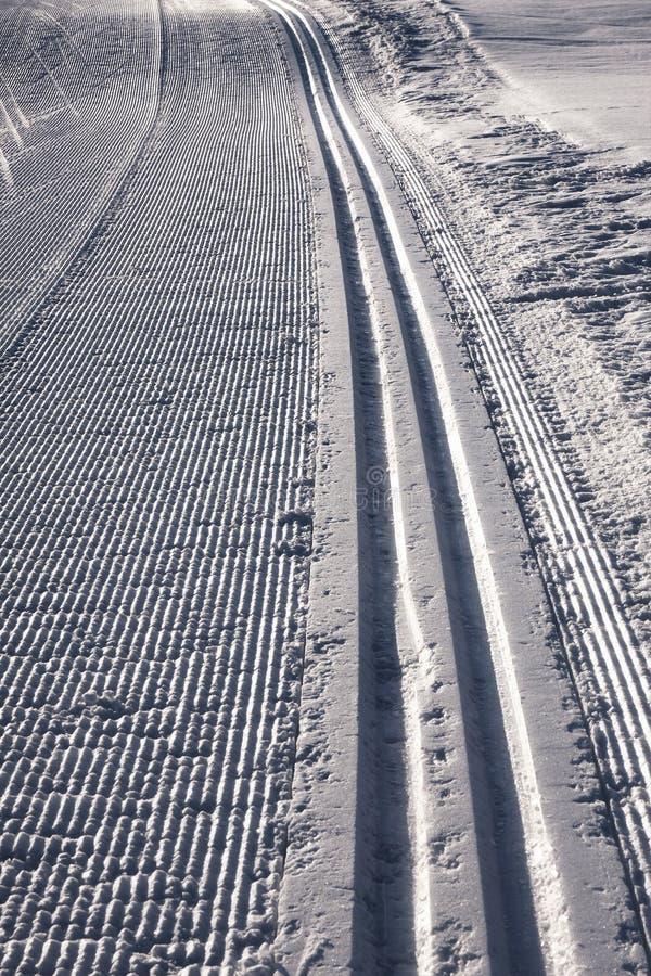 Ski Tracks Track Snow arkivbilder