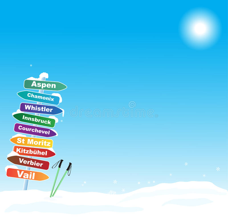 Download Ski Trip Illustration With Famous Ski Destinations Stock Vector - Image: 32264093