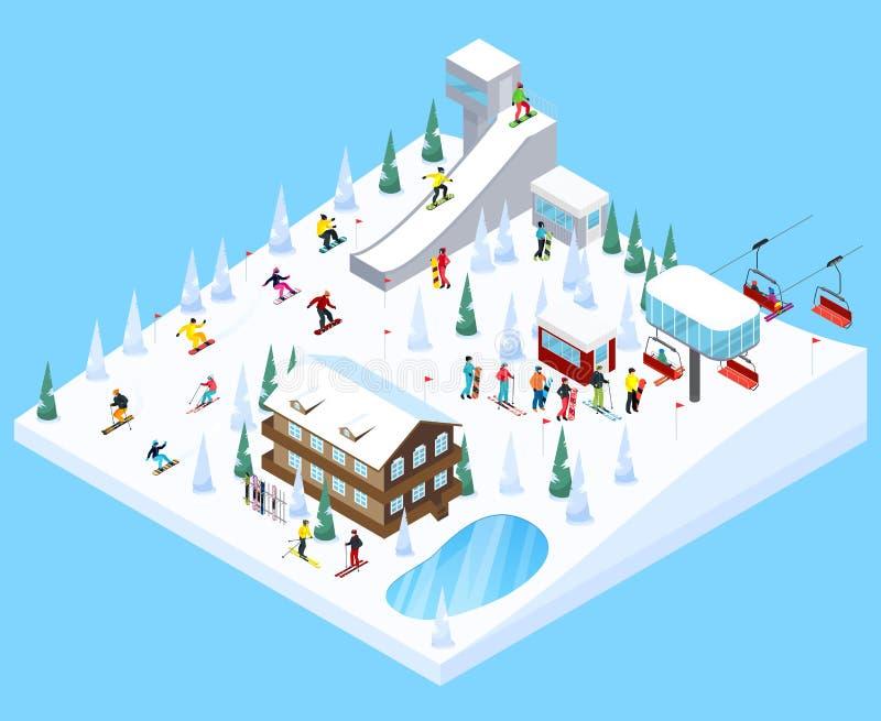 Ski Village Landscape Element royalty illustrazione gratis