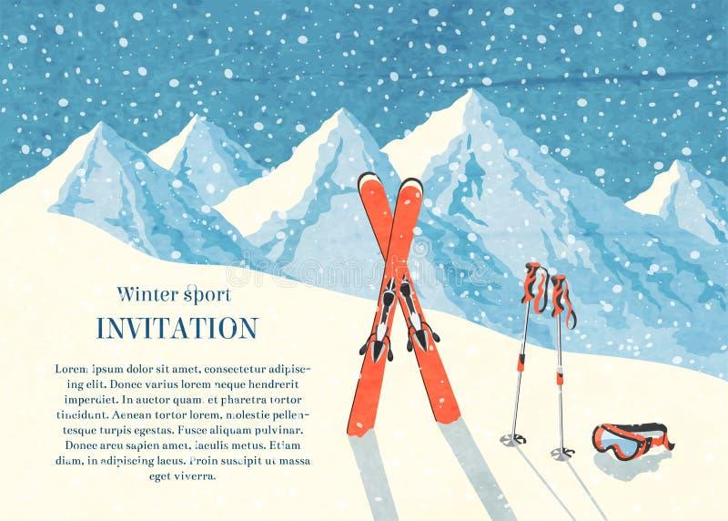 Ski winter mountain landscape card vector illustration
