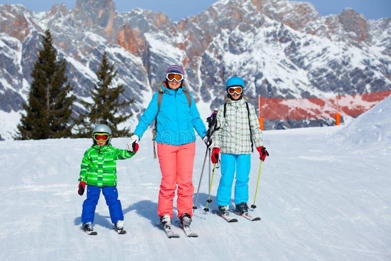Ski, winter, snow, skiers stock photos